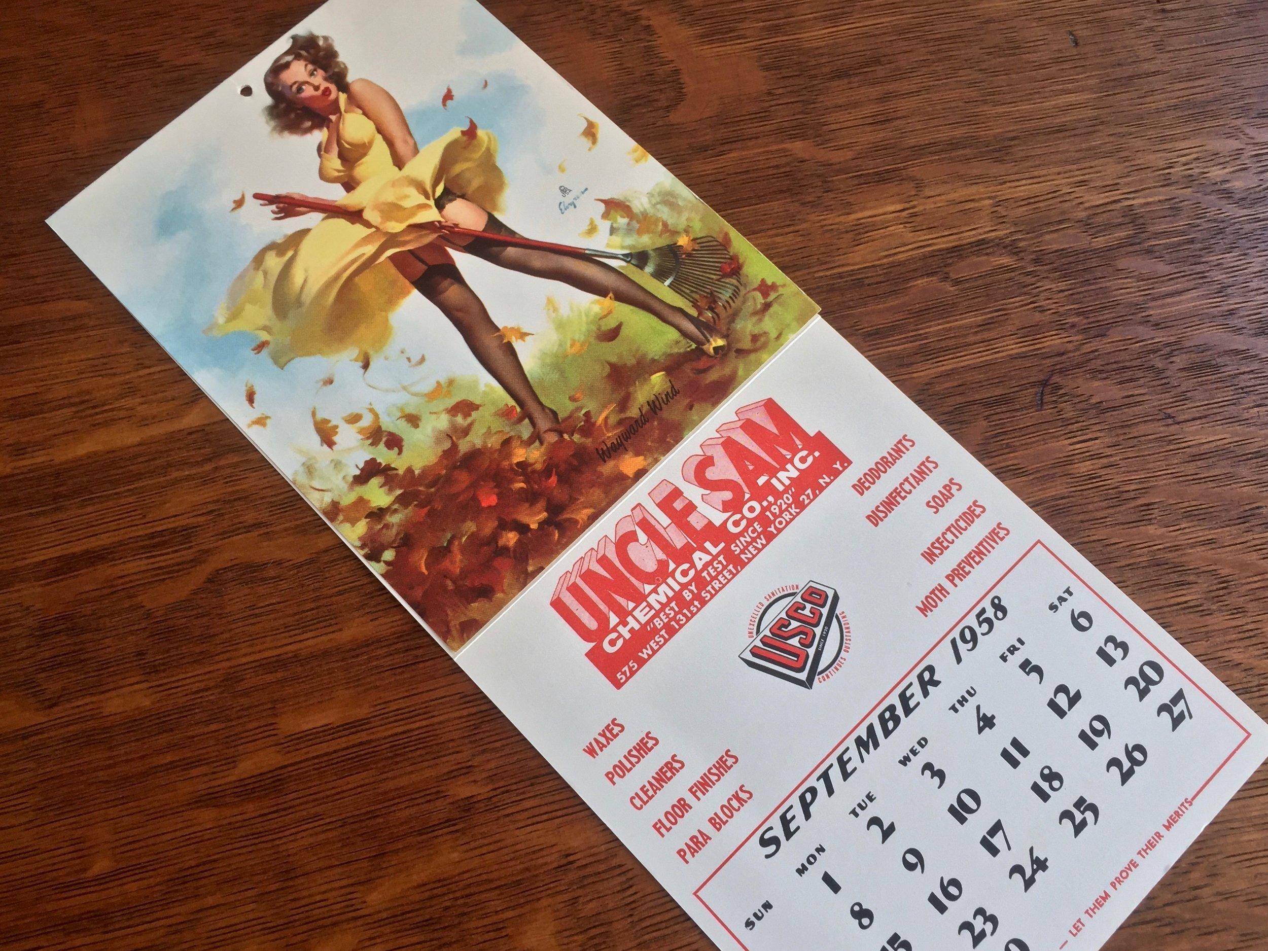 Pin Up Girl Calendar 1958