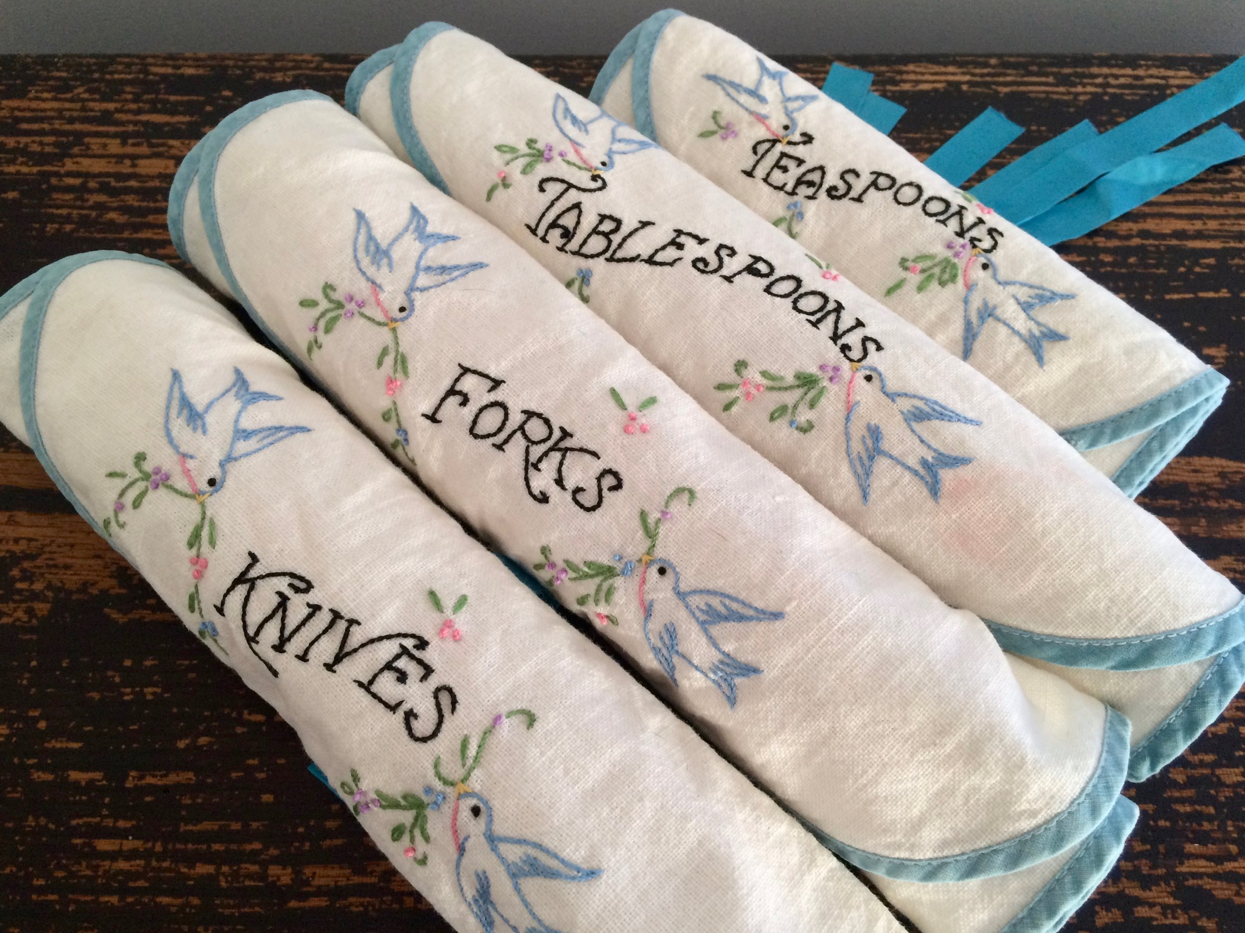 Embroidered Flatware Rolls