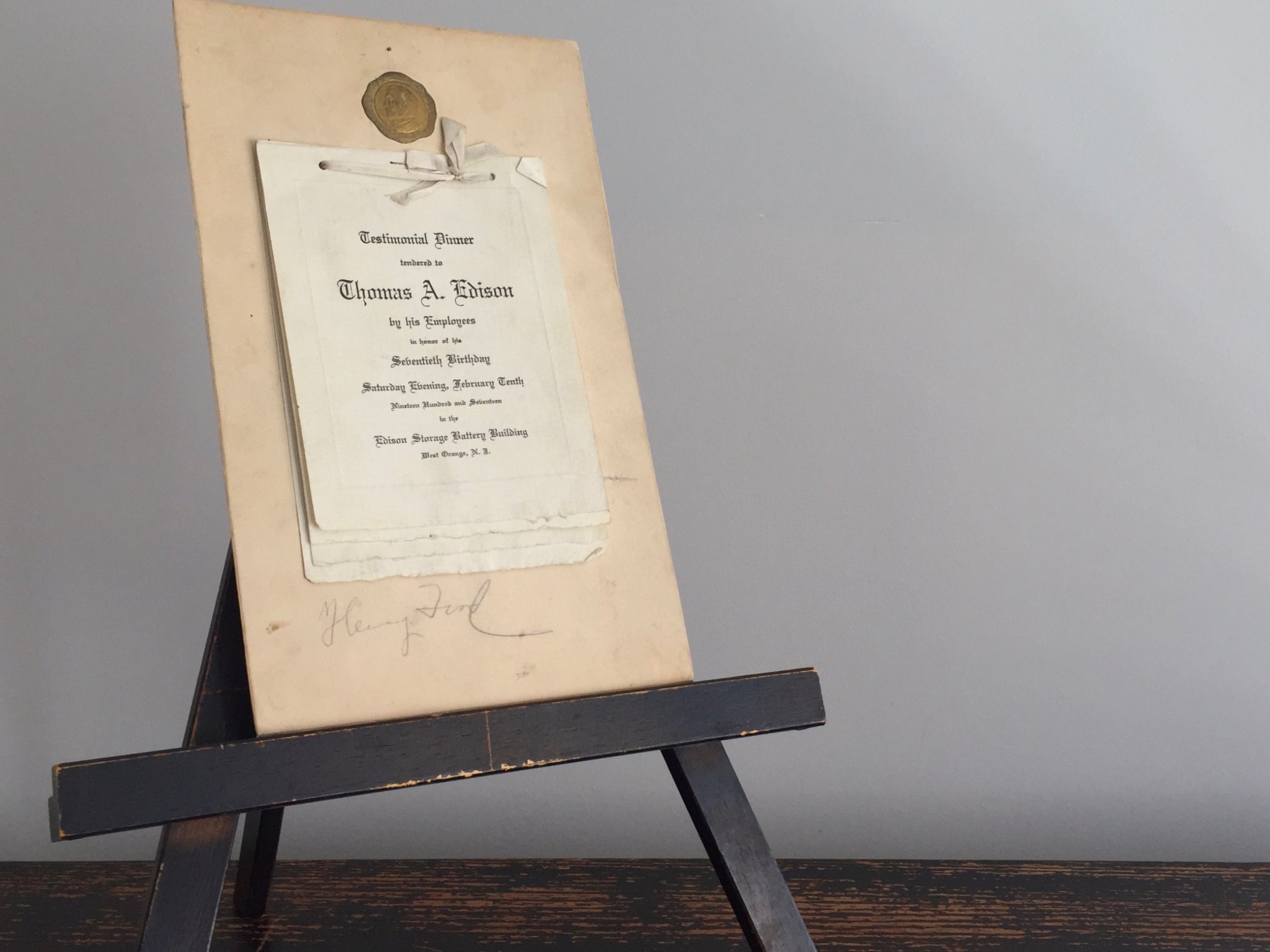 Henry Ford Autograph · Edison's Birthday · 1917