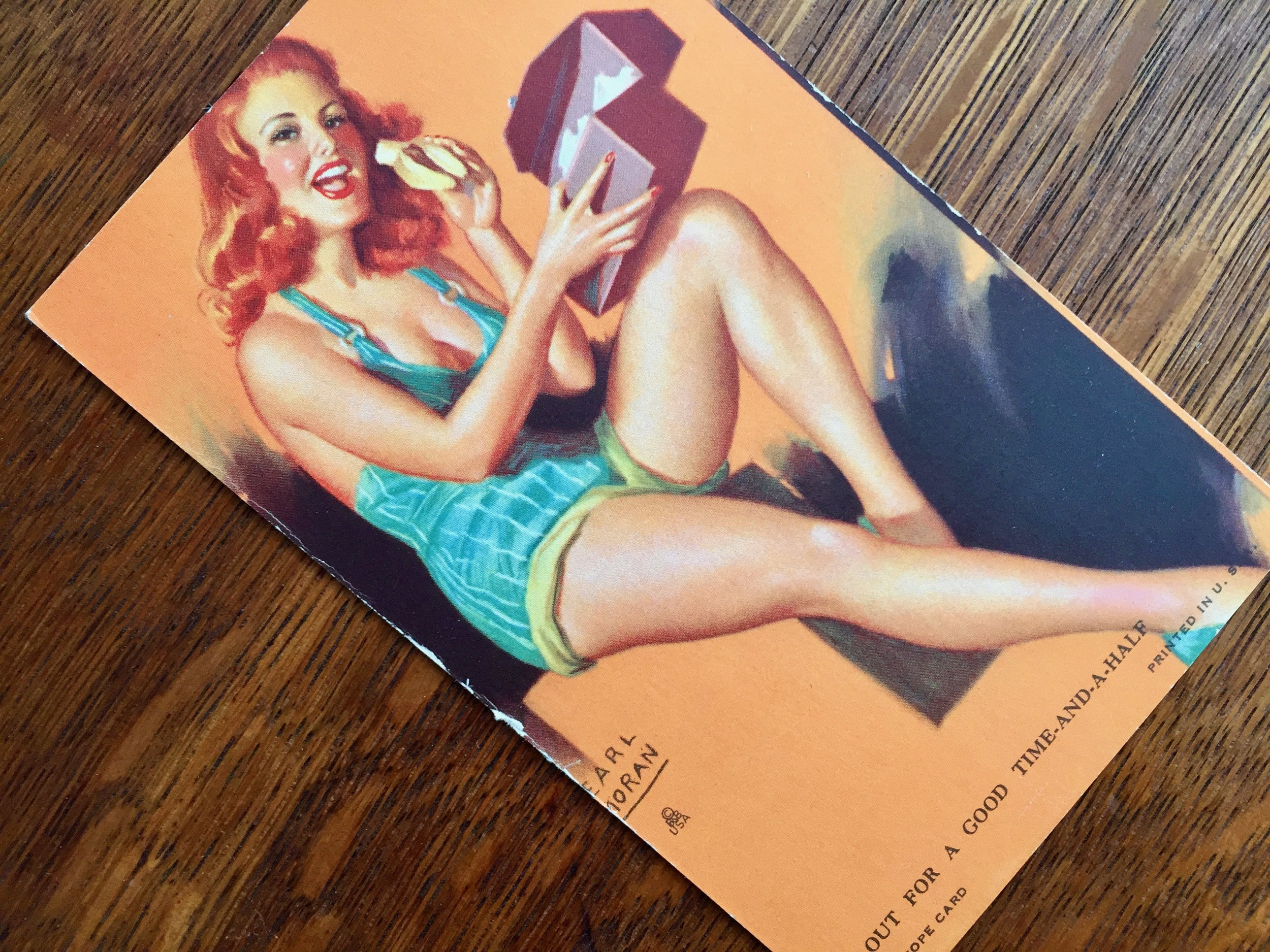 Pin-Up Girl Arcade Card