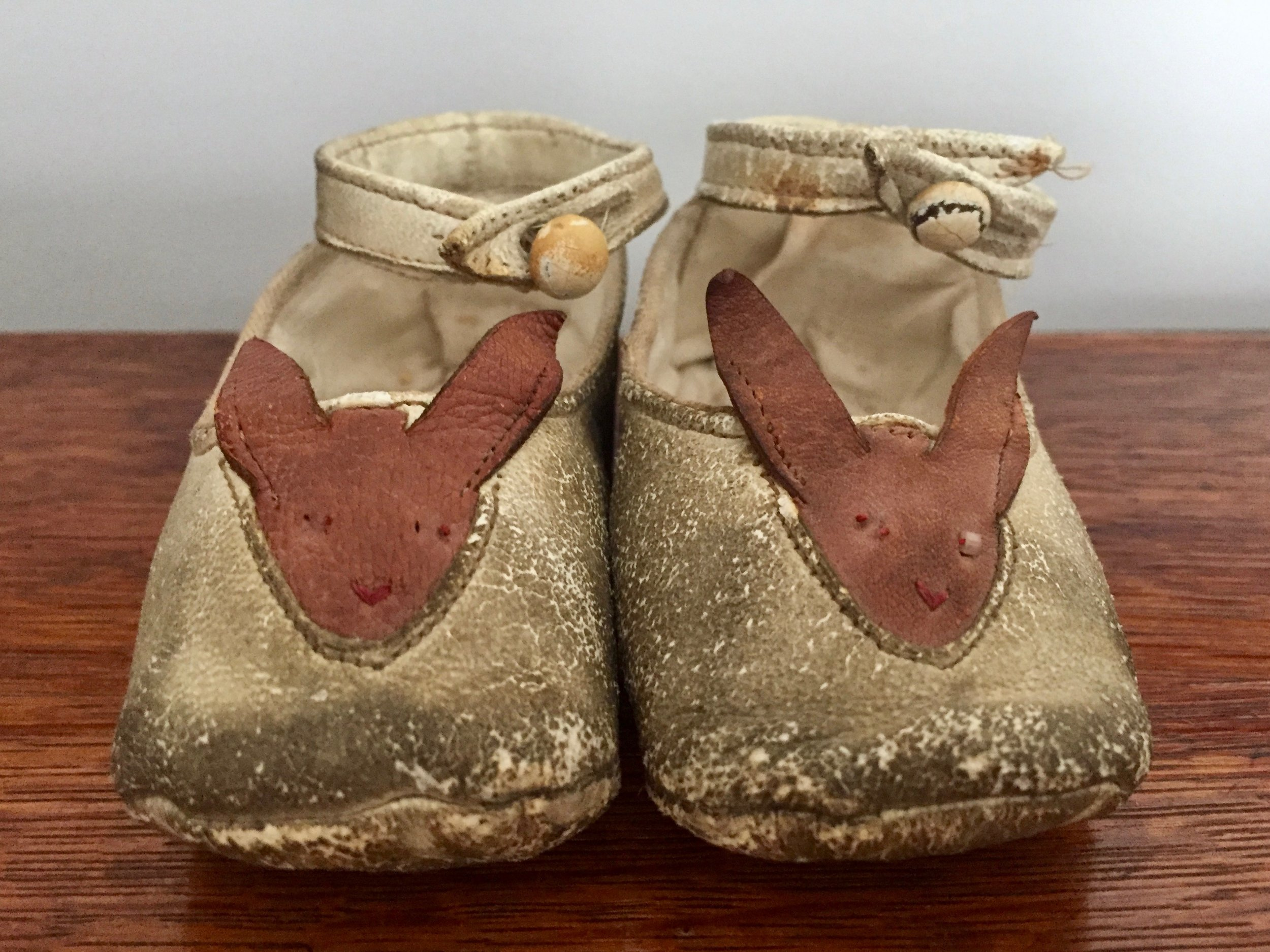 Victorian Leather Baby Shoes with Bunnies