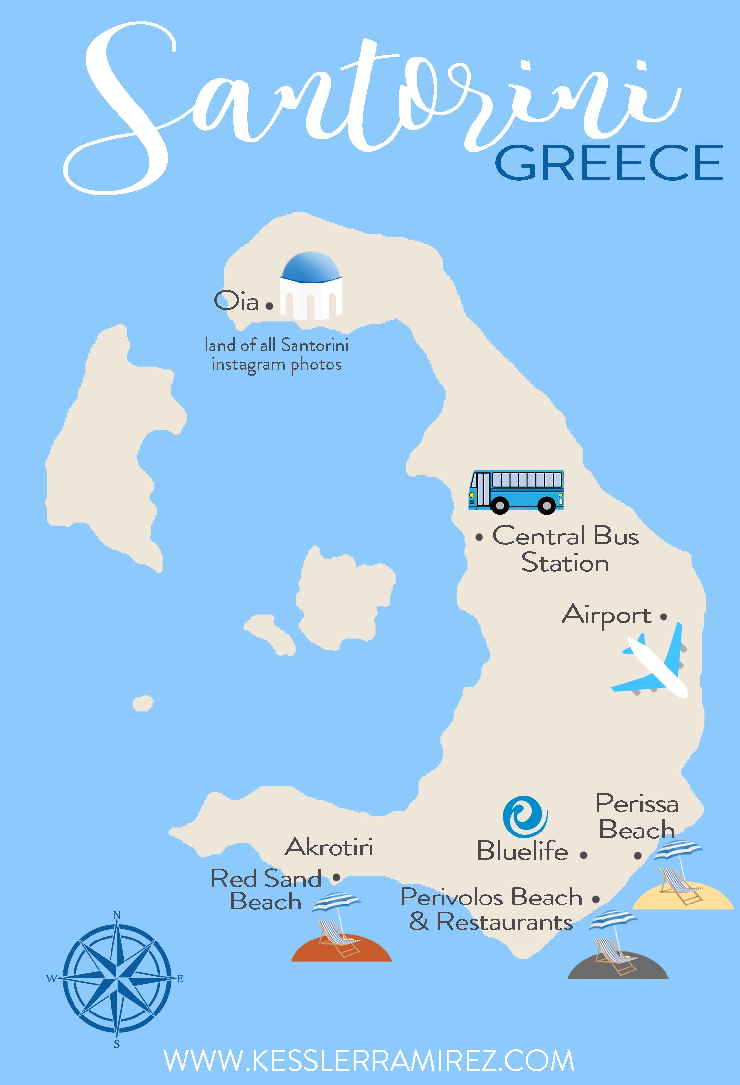 Map of Santorini Greece by Kessler Ramirez