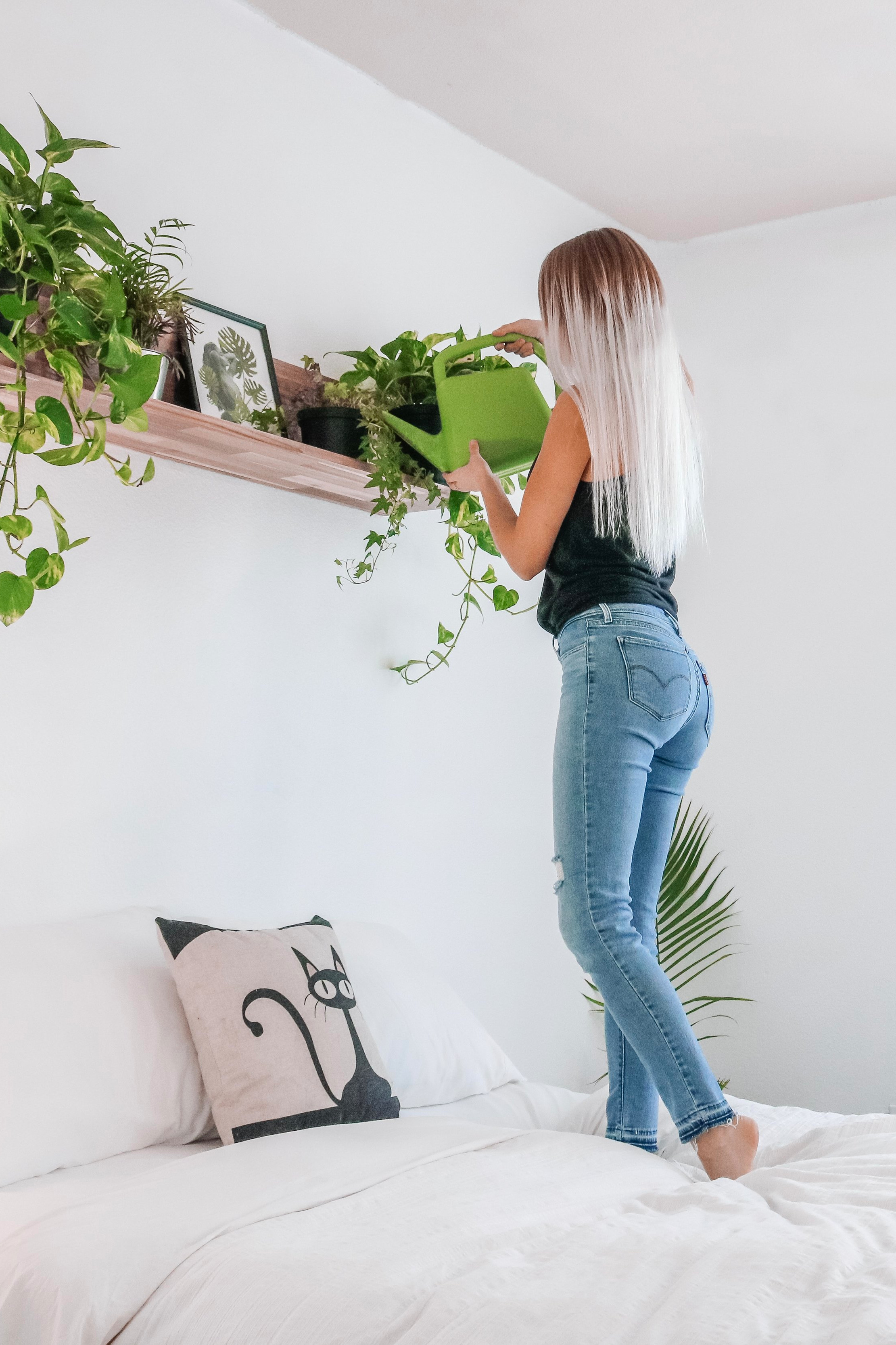 """Life as a plant lady - I have more plants than I can count and continue to propagate them – growing even more babies from the plants I already have. My room is definitely an """"urban jungle""""."""