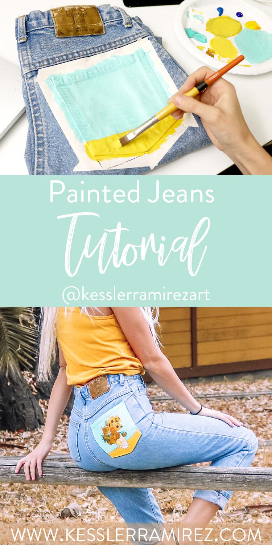 DIY Painted Jeans Tutorial by Kessler Ramirez