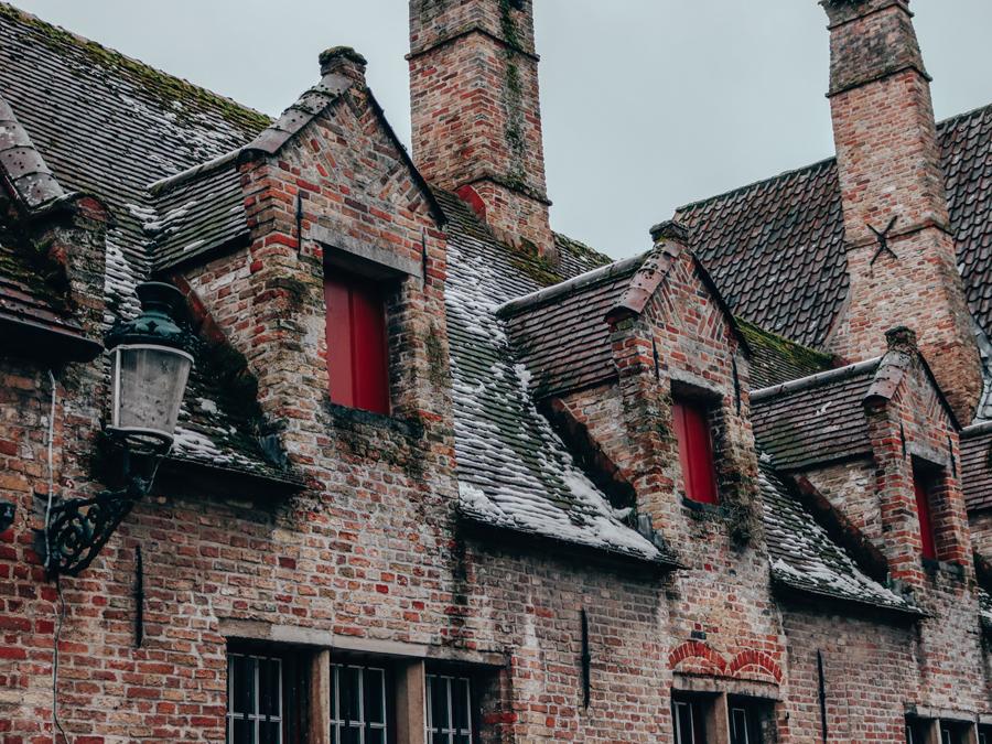 Bruges, Belgium snow rooftops