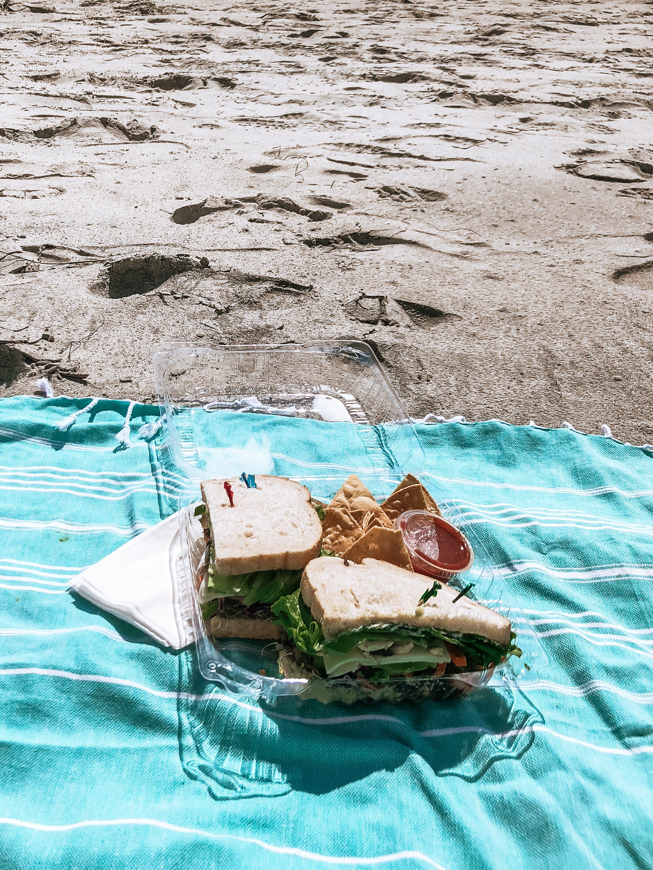 Swamis Cafe sandwich at swamis beach