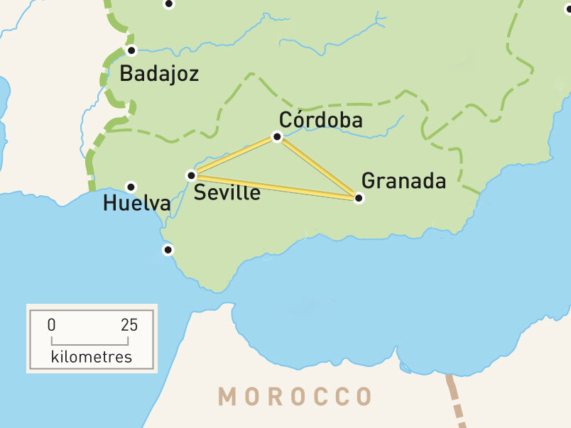 Map of Andalusia Golden Triangle