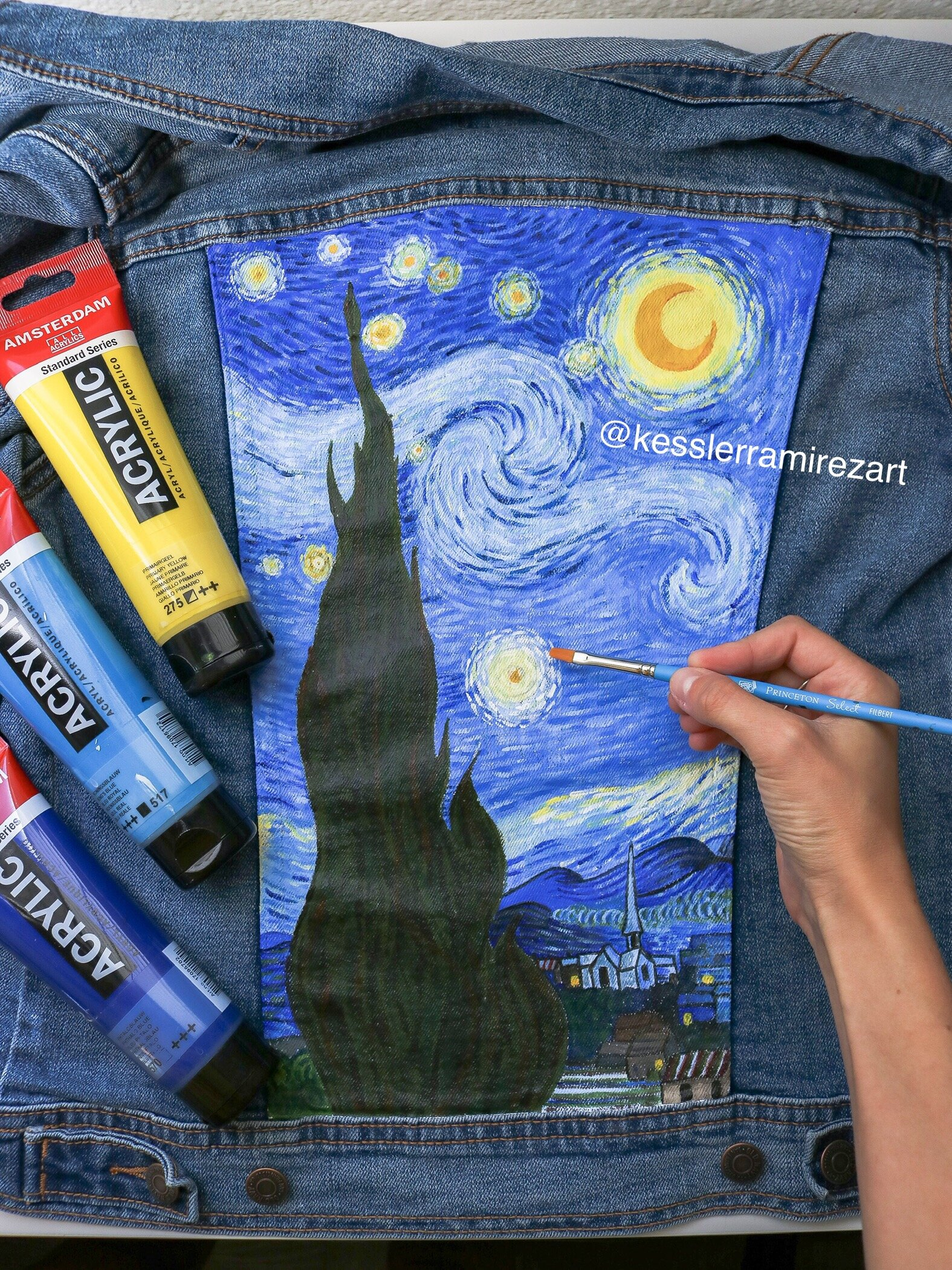 Denim Painting 101 Paint And Supplies Kessler Ramirez Art Travel