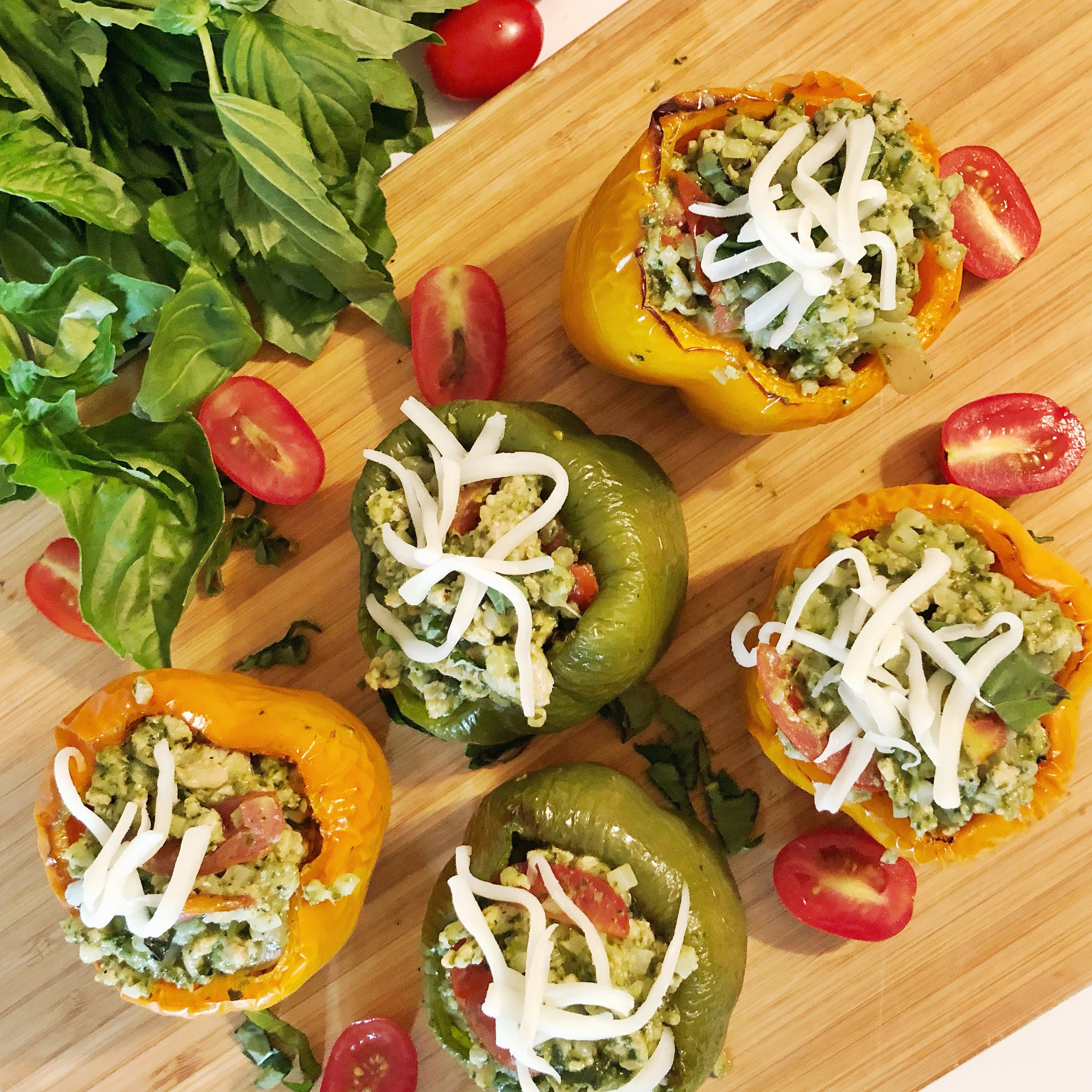 Caprese chicken stuffed peppers