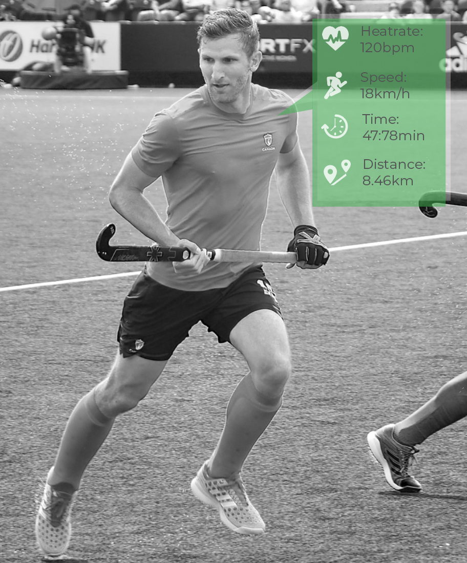 Athlete Data collection from wearables (Image of Mark Pearson, Team Canada Field Hockey)