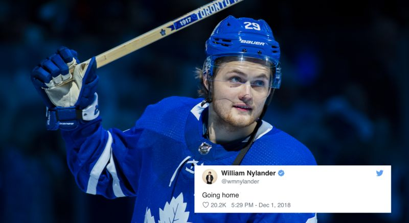 Nylander's tweet after signing his contract that came down to the deadline.  Yahoo Sports