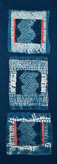 "Diana Gipson  dianagipson@live.com  Indigo Road 14""x30"" $400  Japanese shibori design achieved by hand-stitching silk fabric, pulling threads to bind the piece, then dyeing in indigo. Silk background."