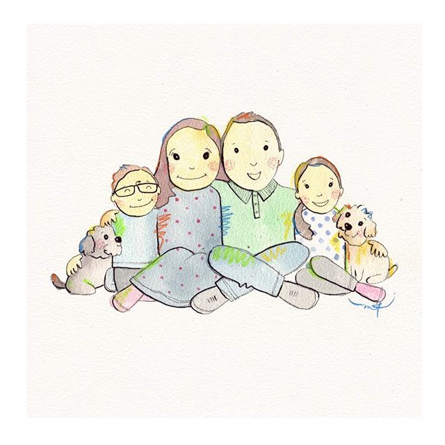 How gorgeous is this fam! Portrait orders for Xmas are definitely closed now, but I'll still be tracking them on over the break ☺️ . . . #family #familyportrait #customportrait #custom #watercolour #illustration #megkolac