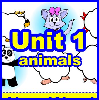 Unit 1: Animals    The theme of HEE unit 1 is animals.  If you know me, you know that starting with animals is not surprising. Not surprising at all! Students absolutely love animals and will usually start talking right away! The animals theme also leads itself easily to Total Physical Response (TPR) actions and in turn, lots of smiles and laughter in the classroom.