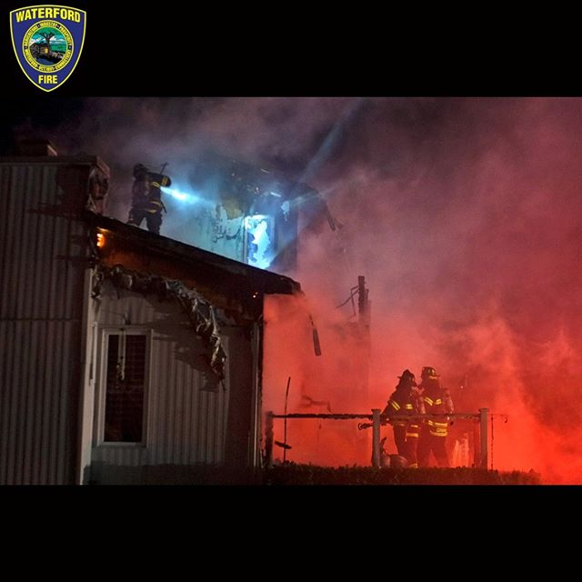 #Waterford #Firefightersmake their way through dense #smoke, as they advance a #firehose across a deck to begin an exterior attack of a #structurefire,  while additional crews work the roof of the home, on Windward Way, shortly before 2:30am, in the #GoshenCT section of #WaterfordCT. #CT.  Firefighters from all five of Waterford's Fire Companies faced high winds as they battled the blaze during a violent autumn #rainstorm.  www.cohanziefireco.org  #FD #VolunteerFirefighter #JobTown #Firefighting #Firefighter #Firefighters #FireDepartment #FullyInvolved #FireDept #Fireman #FireTruck #VolunteerFireDepartment #FullyInvolved #ThinRedLine #EMS #NLCT #Connecticut