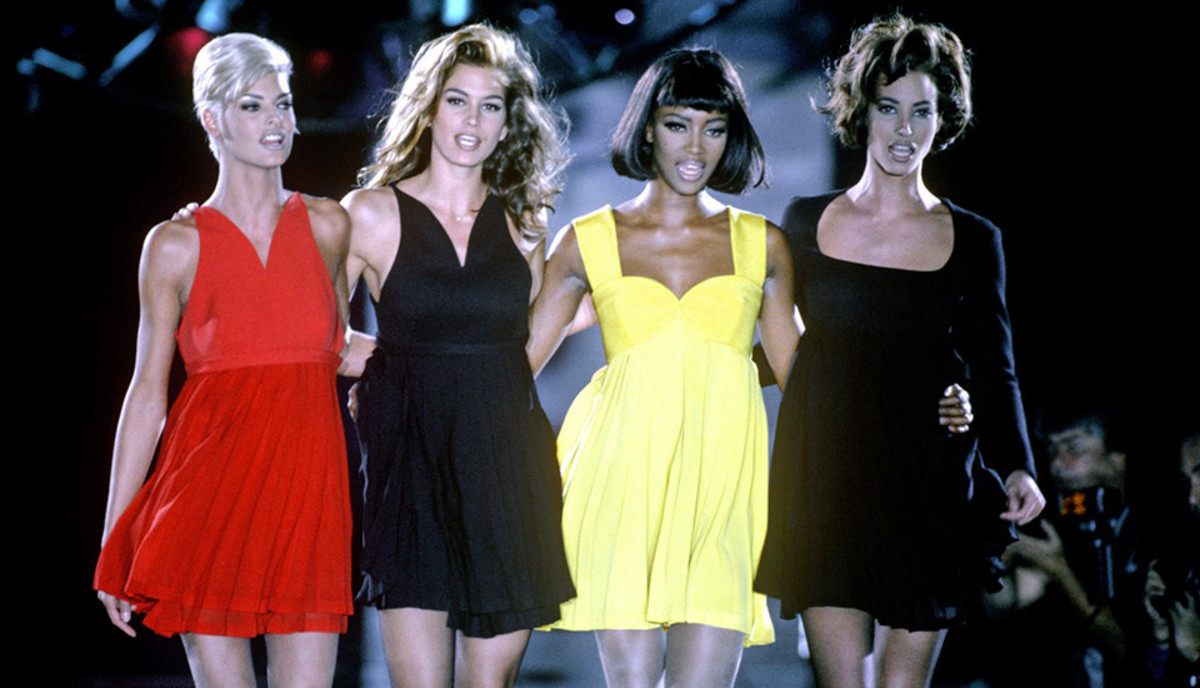 The 'Supers' . . . Linda Evangelista, Cindy Crawford, Naomi Campbell and Christy Turlington on the Versace catwalk in Milan, 1991 Photo: REX