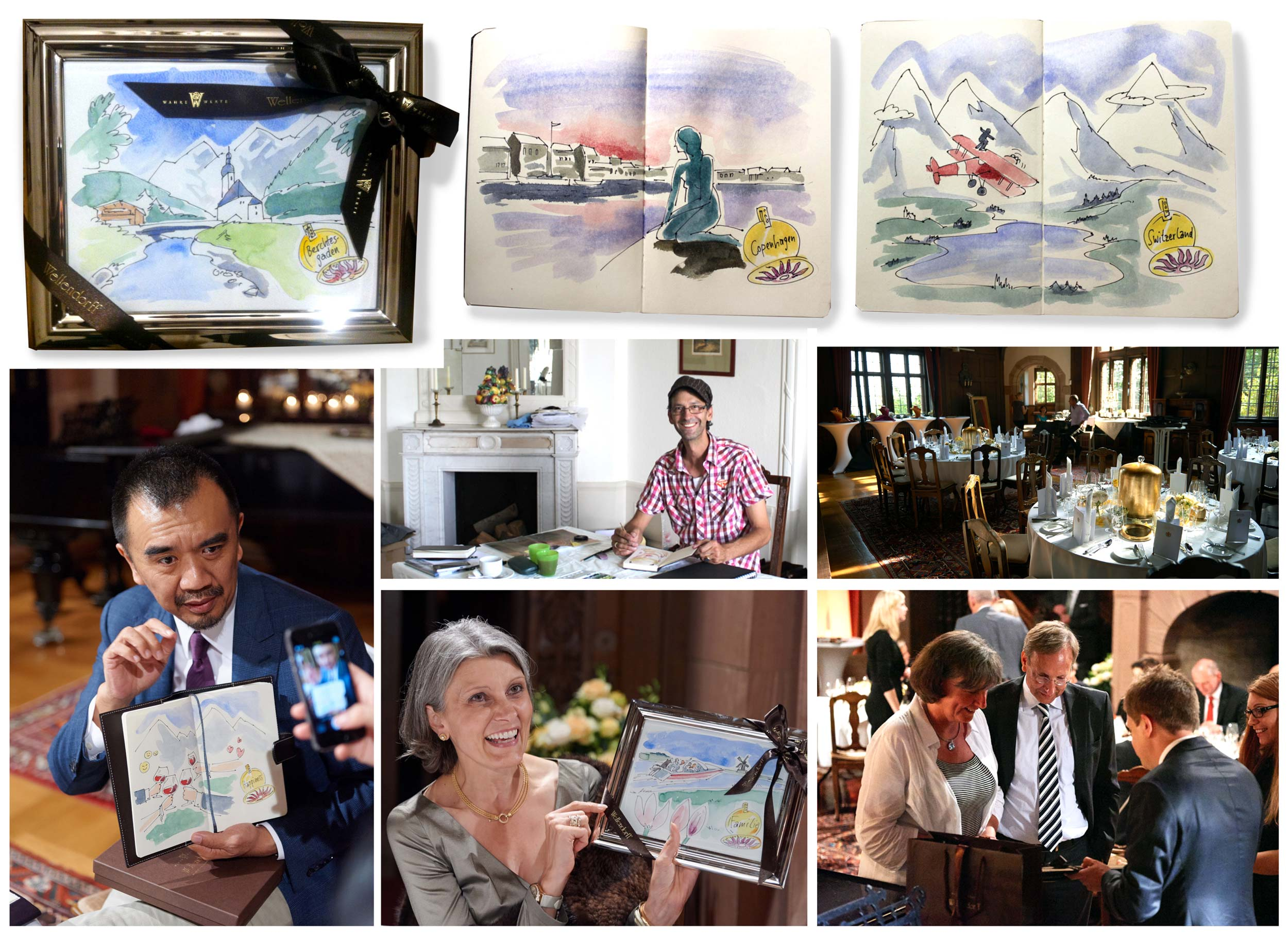 Wellendorff Schmuck   Im Schloss Vollrads (Rheingau) zeichne ich live während einer exklusiven Sondervorführung von Wellendorff Schmuck, die Zukunftsträume der Gäste. Zur allgemeinen Verblüffung, werden diese noch am selben Abend gerahmt oder in Buchform übergeben.