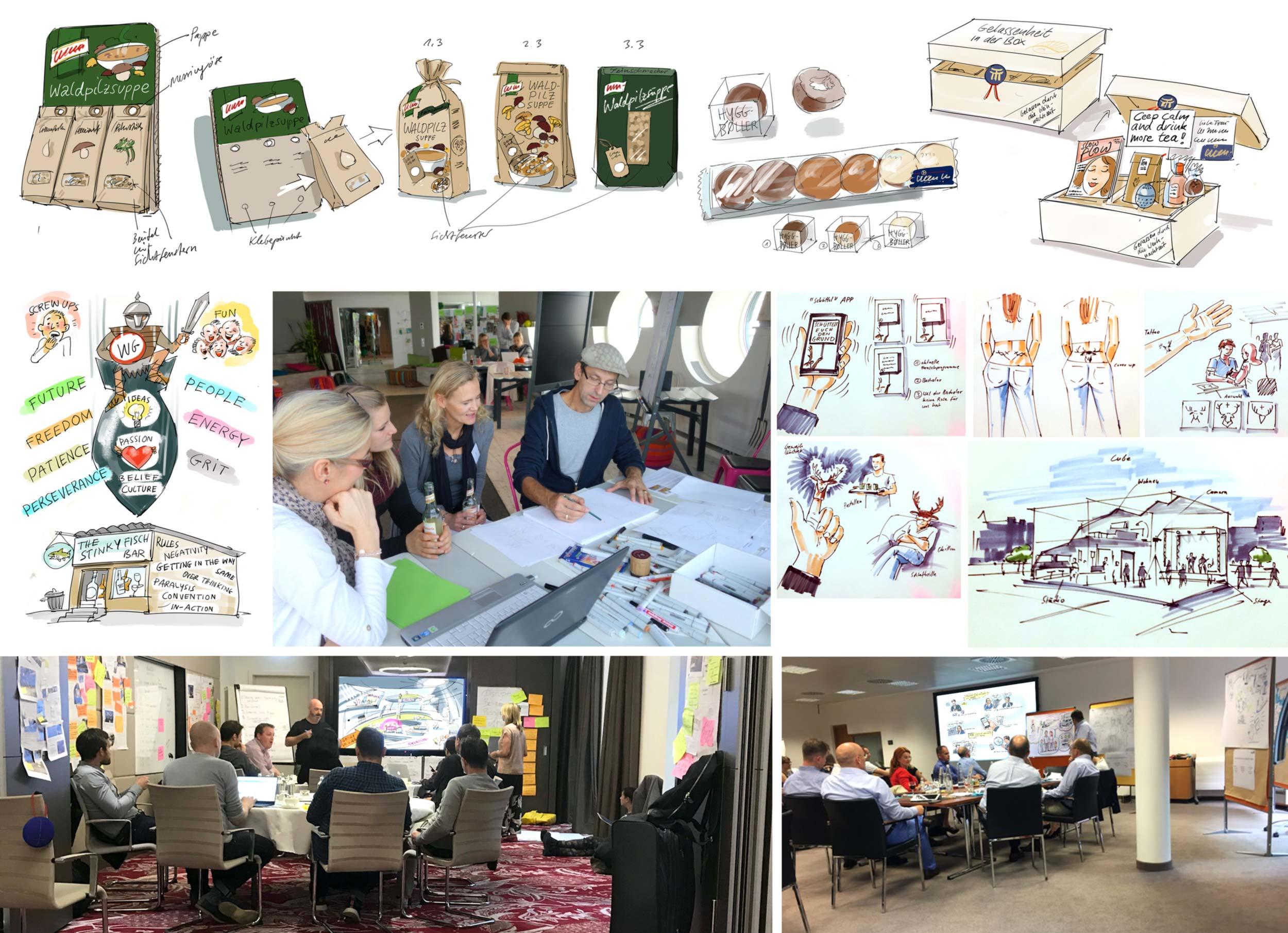 Diverse Workshops   Hier sieht man einige Beispiele für Workshop-Situationen und die dabei entstandenen Scribbles. Die Zeichnungen werden entweder auf FlipChart, Stellwänden oder digital präsentiert. In solchen Gruppen nutze ich auch immer häufiger das iPad zum Zeichnen.