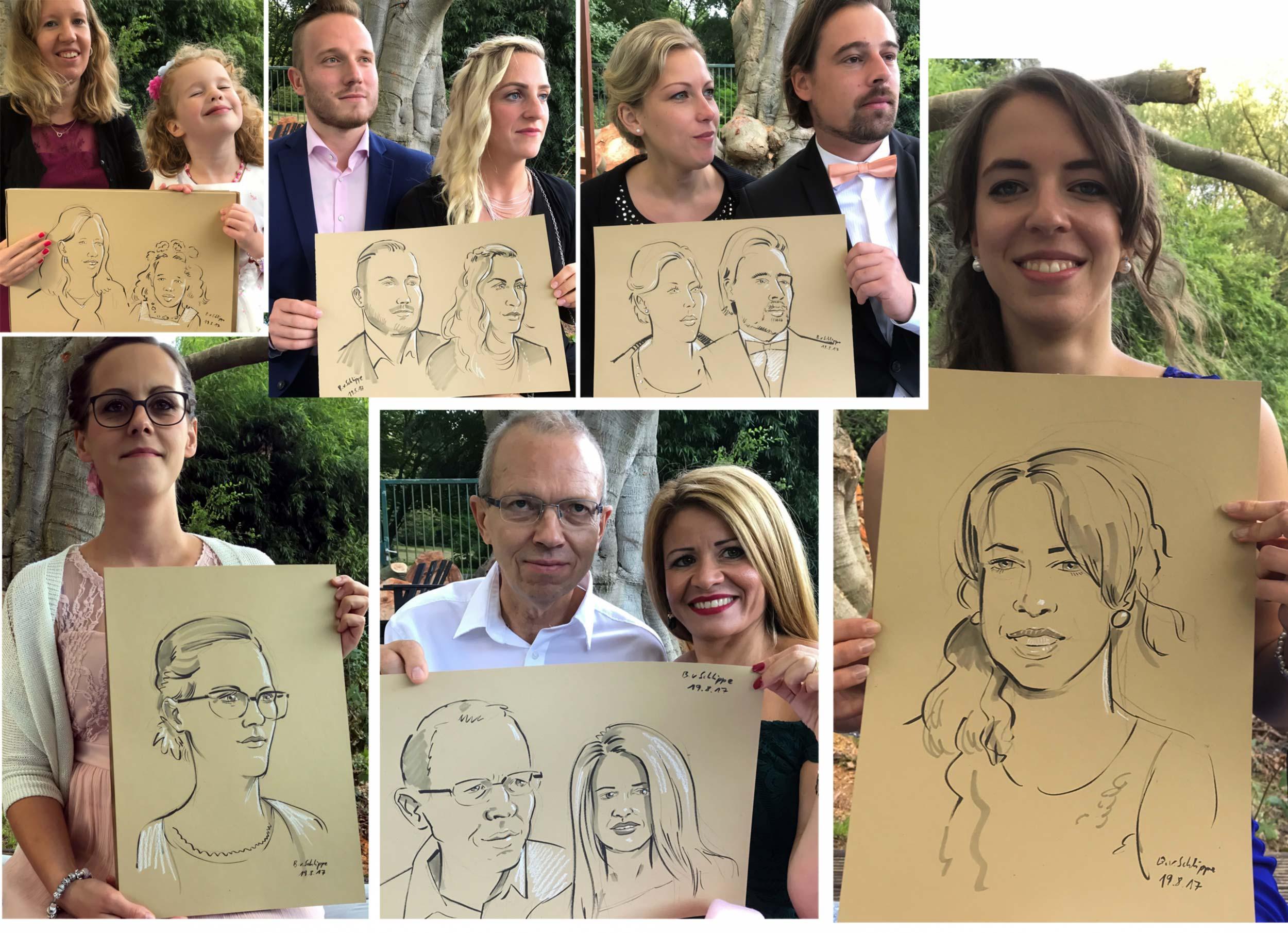 Privat- und Geschäftsfeiern   Auf einer Hochzeitsfeier lassen sich die Gäste zeichnen. Leider sind 120 Personen an einem Abend doch zu viel und so muss ich etliche Gäste vertrösten. Ich fotografiere sie und zeichne sie später, allerdings in einem anderem Stil.
