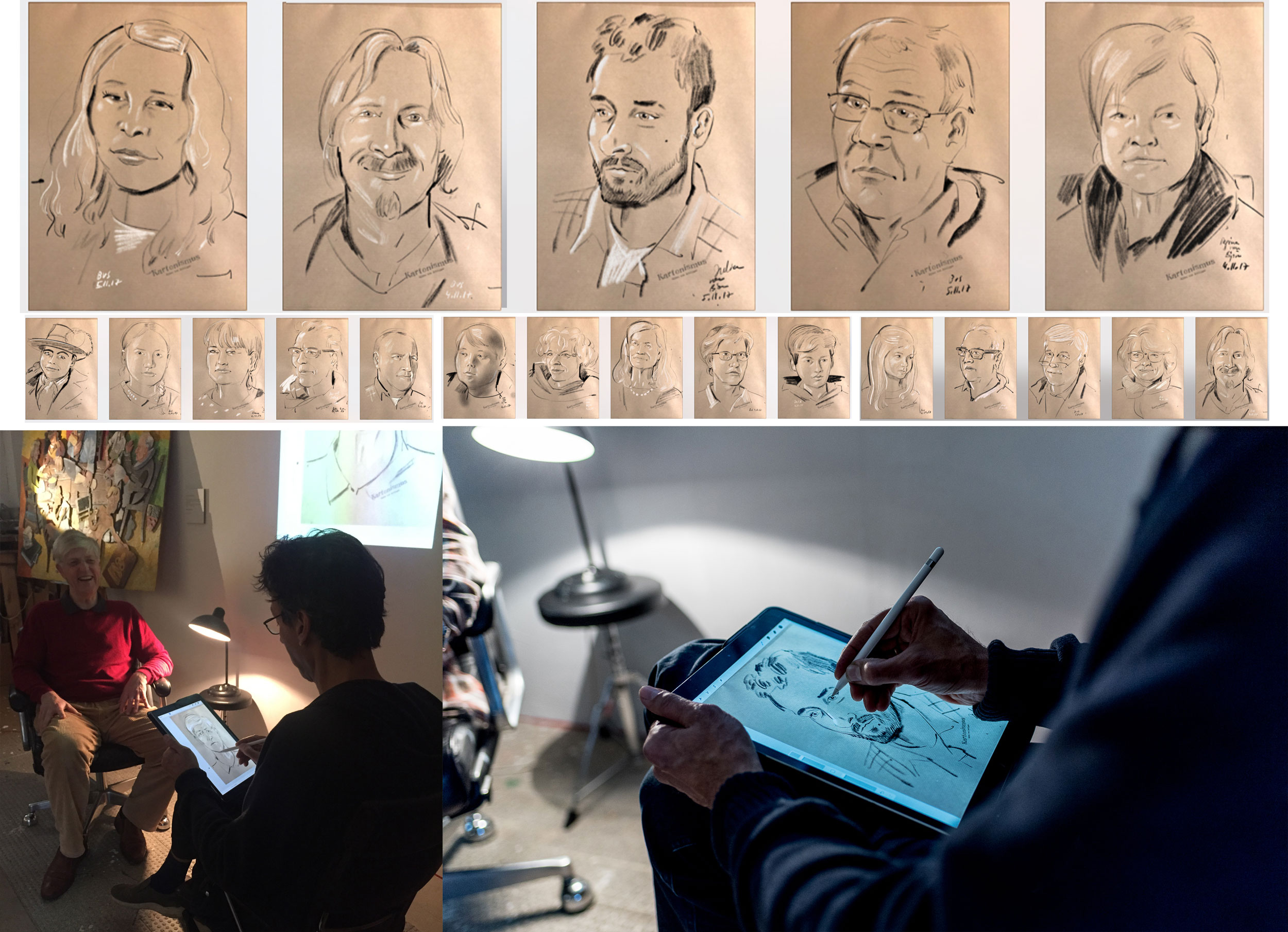 Offene Ateliers   Während der Tage der offenen Ateliers, porträtiere ich die Besucher auf dem iPad und übertrage die Zeichnung live per Beamer, mit Apple TV, an die Wand. So können viele Leute gleichzeitig zuschauen.  Unten Beispiele für das Entstehen von Porträts, gezeichnet auf dem iPad Pro, während einer Veranstaltung.