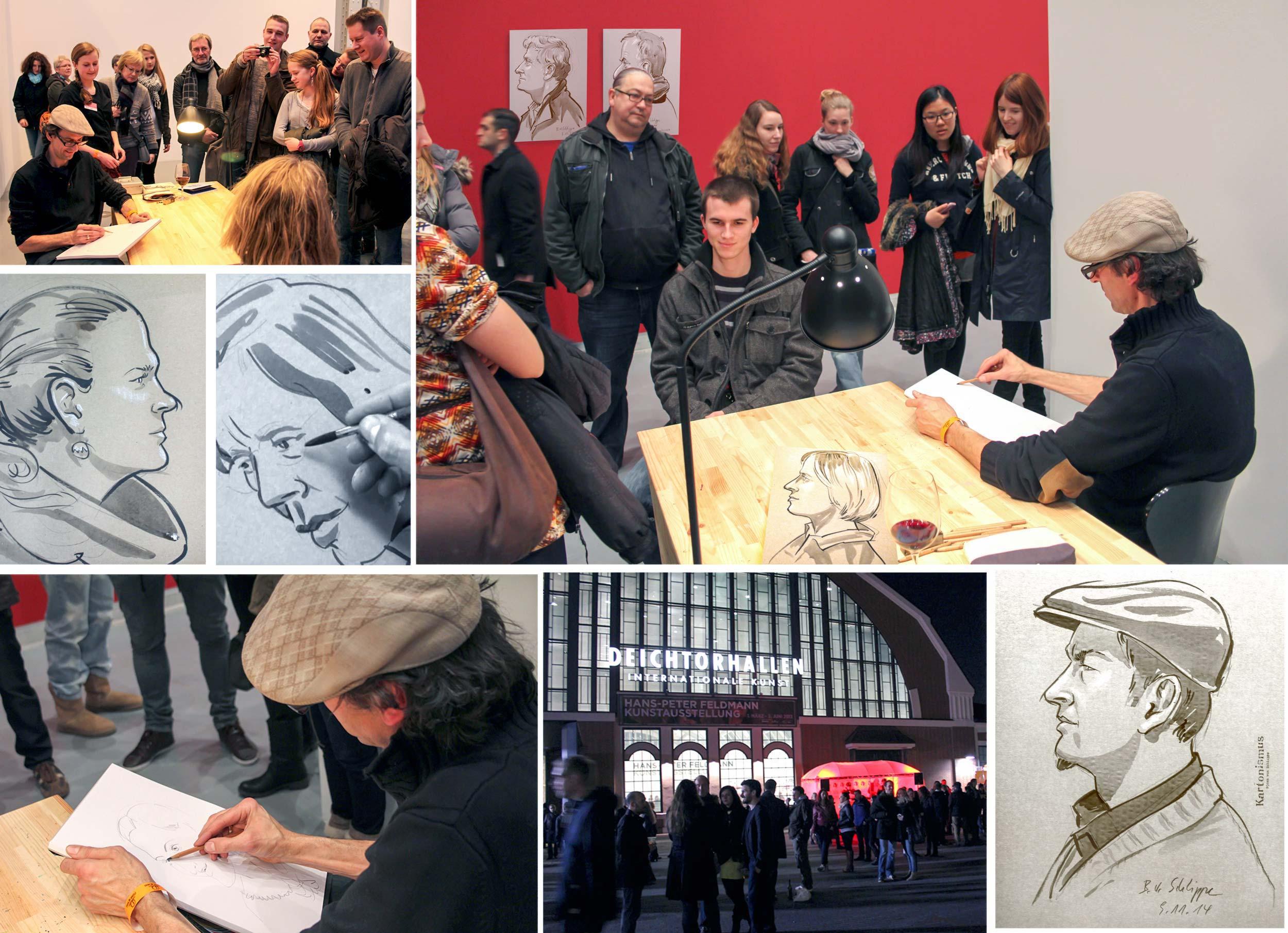 Lange Nacht der Museen in der Hamburger Deichtorhalle   Ich porträtiere Besucher in verschiedenen Techniken. Es ist rammelvoll und die Besucher erwarten mindestens Kunst.