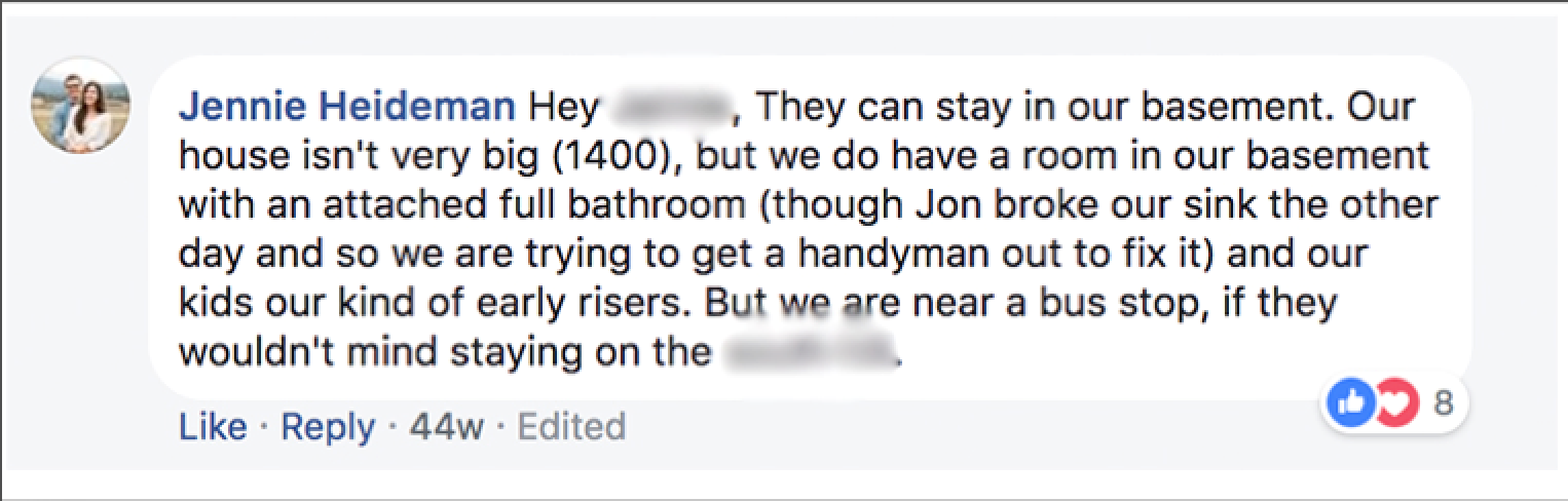 My response to the Facebook post asking if anyone had a basement in which this family could stay.