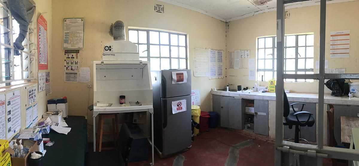 The lab where they test samples for HIV, AIDS and malaria.
