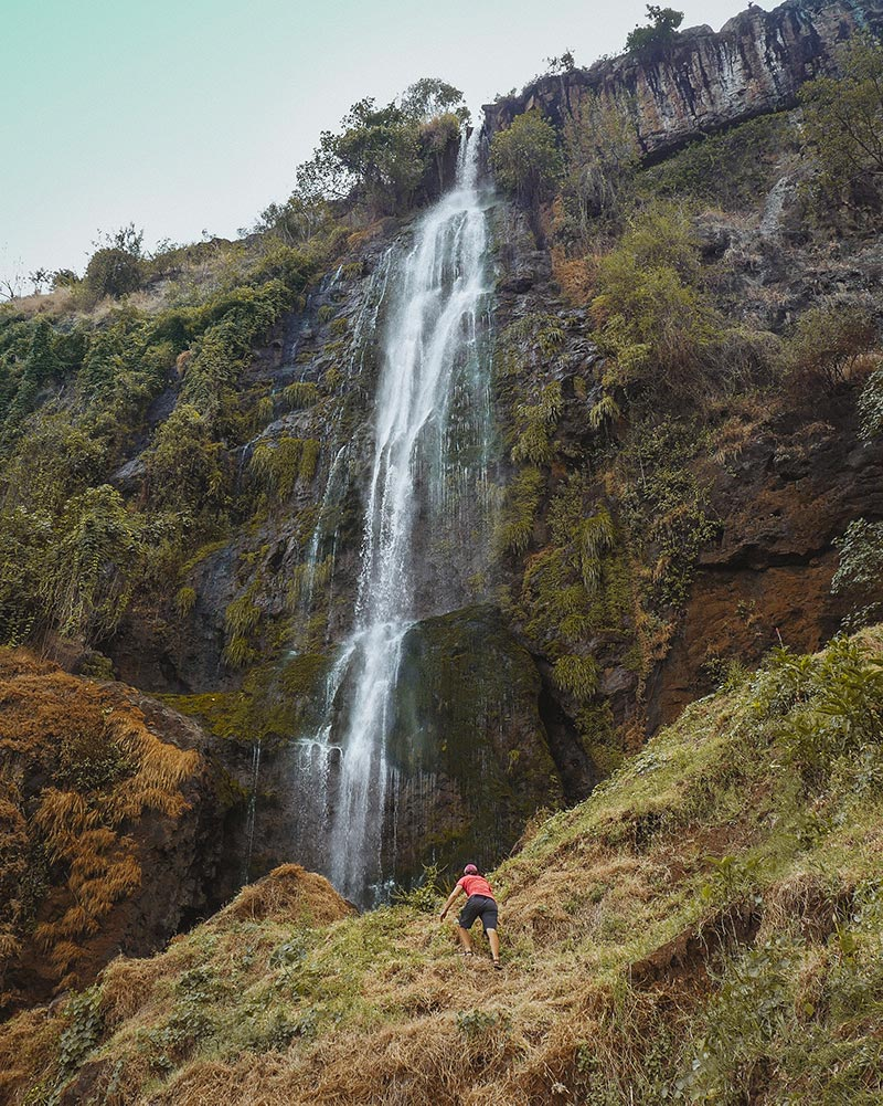 A scramble to Sisiyi Falls. In rainy season the waterfall is considerably bigger. You can see where the water reaches.