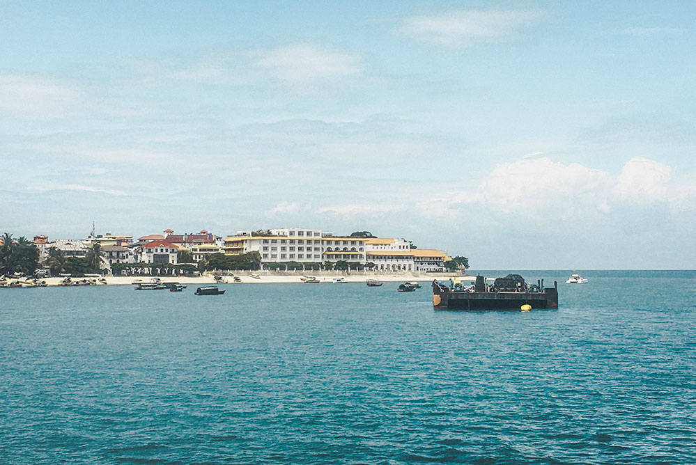 View of Stone Town, aka Tourist Town, when you're approaching Zanzibar on the ferry.