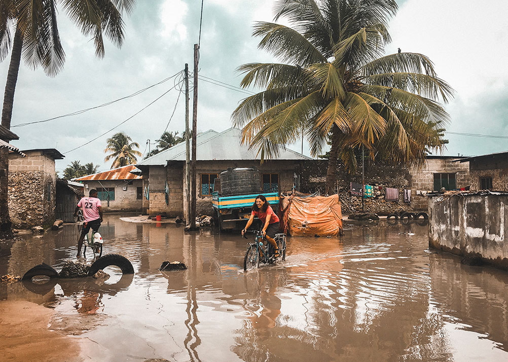 The flooded streets of Nungwi.