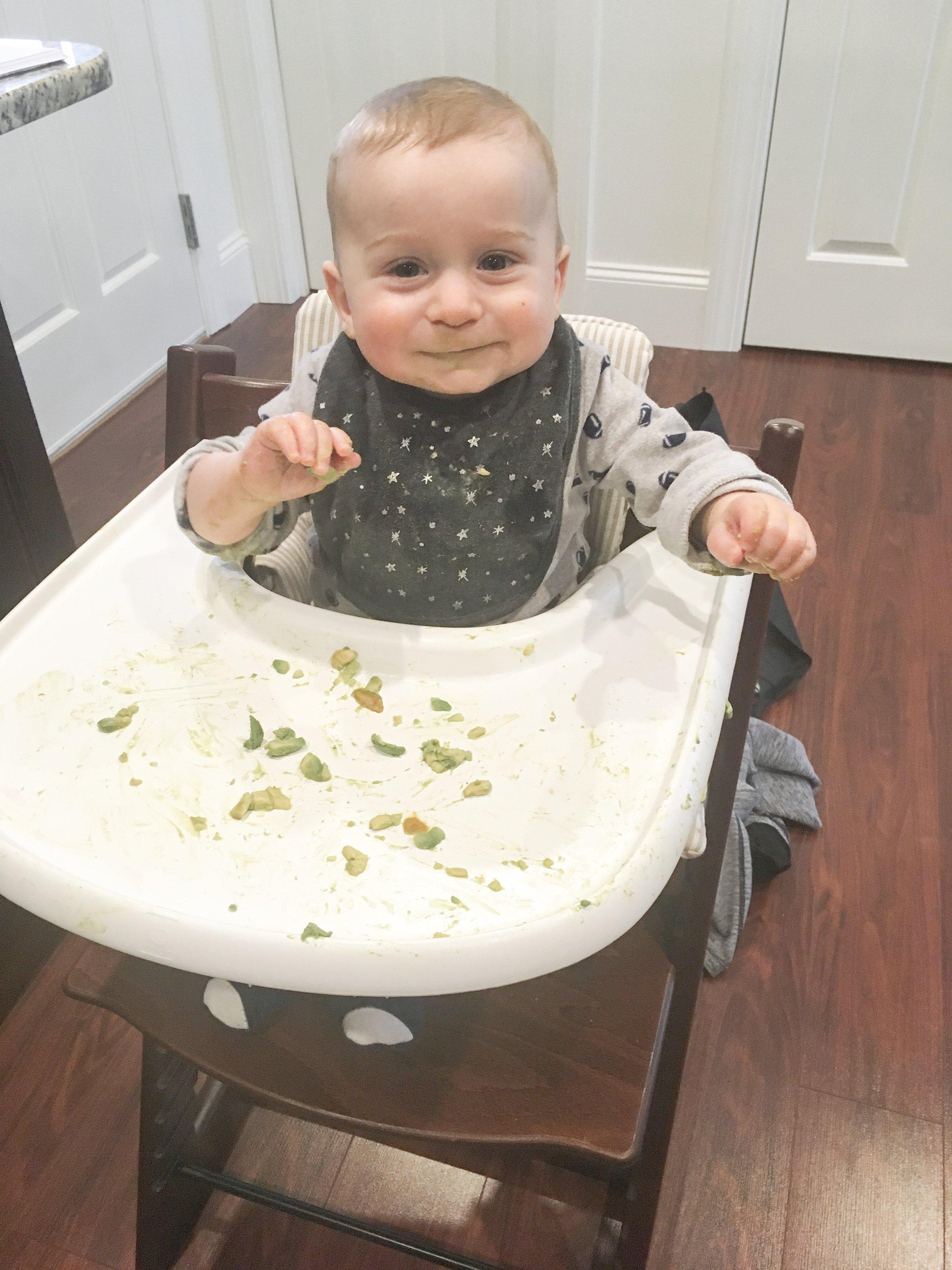 infant eating avocado