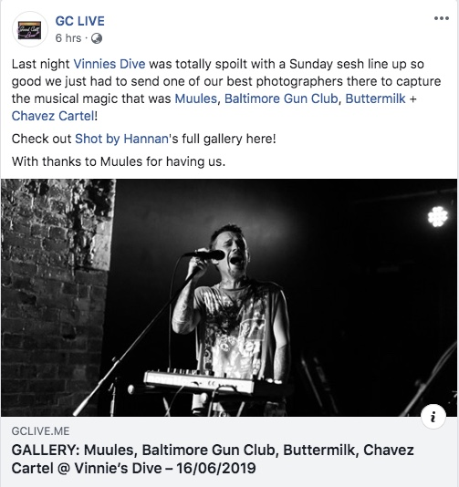 GC Live - 17 June 2019 - Muules + Baltimore Gun Club + Chavez Cartel + Buttermilk at Vinnies Dive on the Gold Coast.Photographic review by Shot by Hannan.