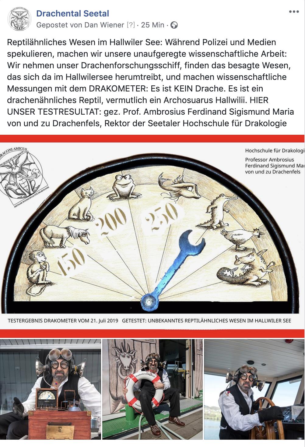 Offizielle Mitteilung Juli 2019 - Nach zahlreichen Medienberichten und Medienanfragen kann die Hochschule nach fundierter wissenschaftlicher Arbeit mitteilen: Es ist KEIN Drache im Hallwilersee, vermutlich ein Archosaurus Hallwilii.