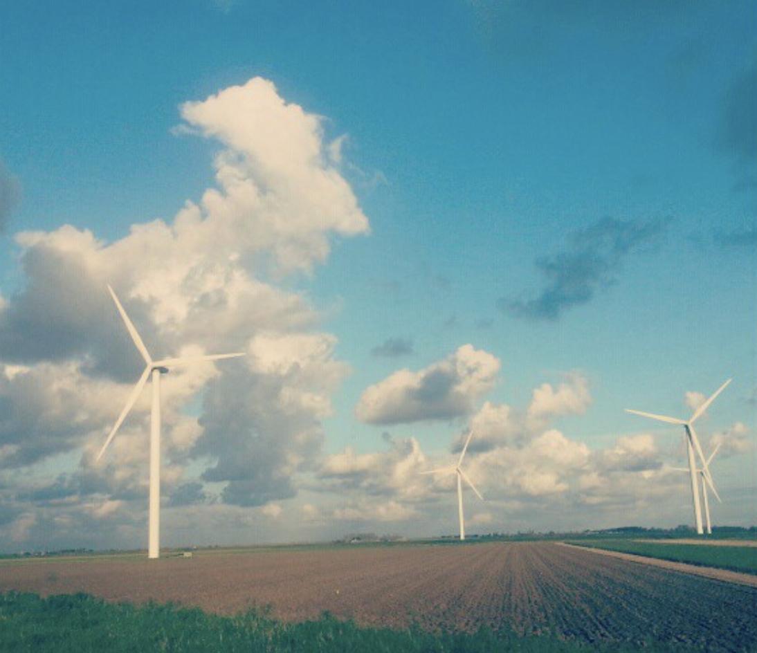 Four Wind Turbines near the Deltawerken in Zeeland, The Netherlands