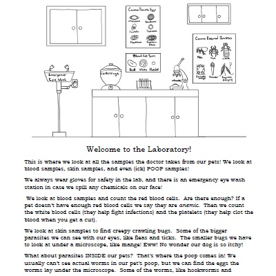 Click here for the Laboratory reading and coloring page!