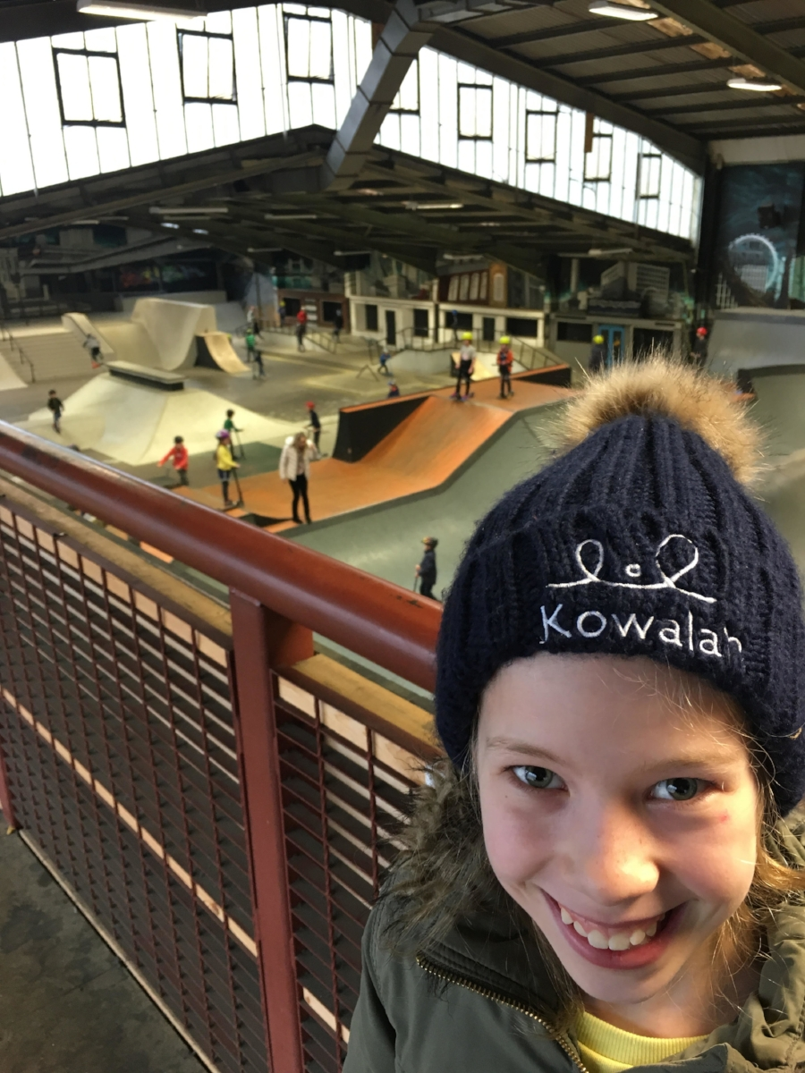 Matilda (10) looks on having decided to review the cafe rather than the skatepark.