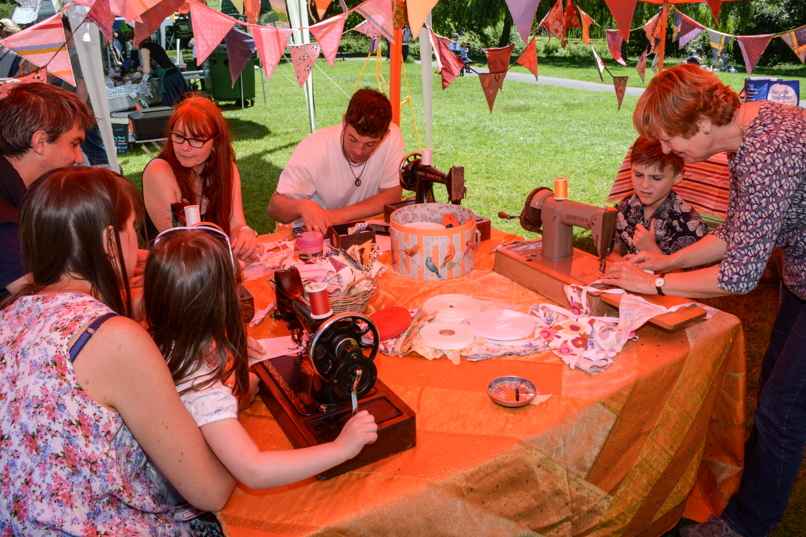 Visitors sewed their own bunting on vintage sewing machines at the Sewing Souk.