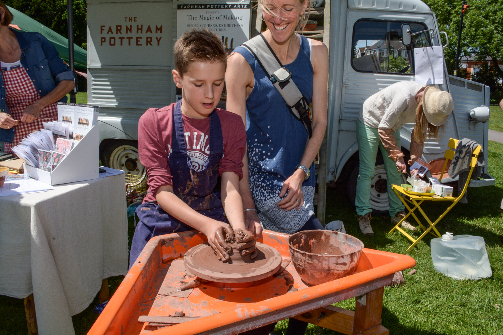 Visitors could have a go on the pottery wheel with Farnham Pottery.