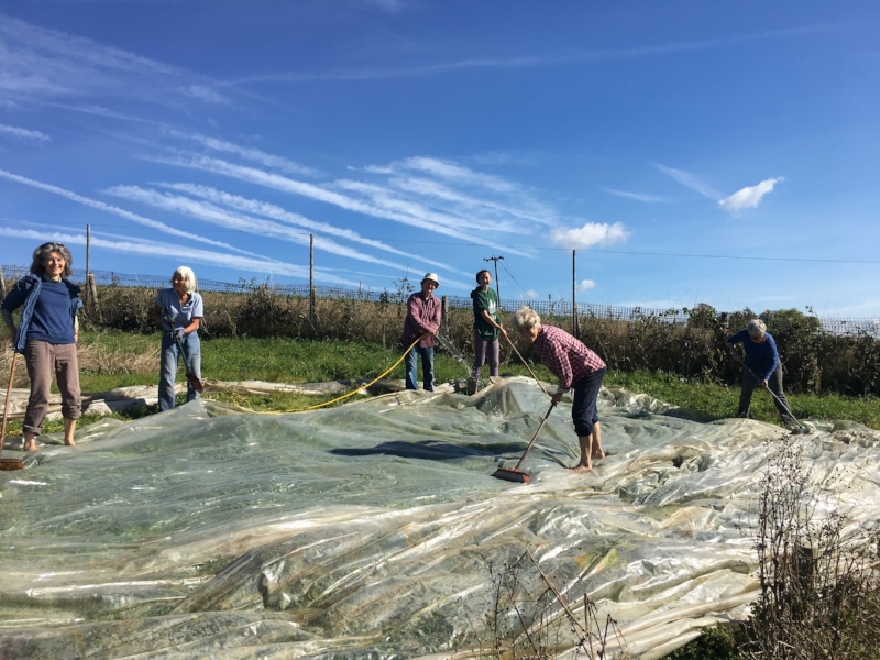 Volunteers cleaning up materials to move from Dippenhall to West Farm