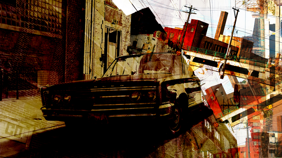"Nick Haas Art City Bound 46"" x 27"""