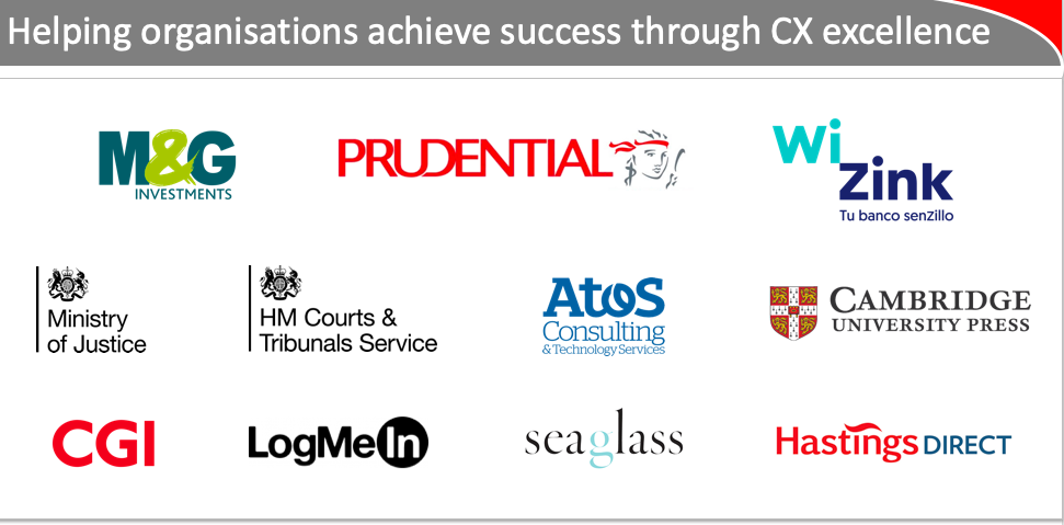Example of recent clients, spanning from financial services  and retail companies to the public sector, and from CX consultancies to agencies and solutions providers.