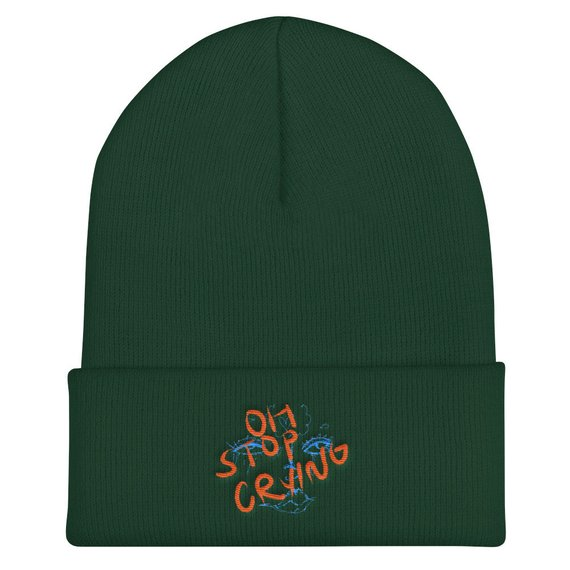 STOP CRYING beanies - $35  available in red, grey, olive green, navy, white, black