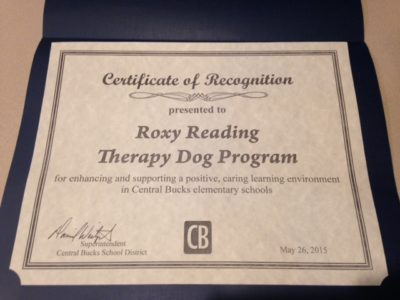 Central Bucks School District honors Roxy Therapy Dogs for 10 years of volunteer service