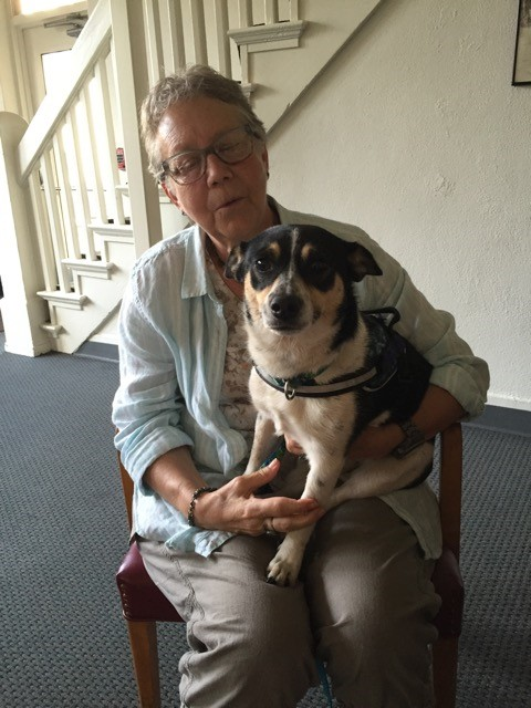 Janet Coffman and Dinah who is a 3 year old small rat terrier.