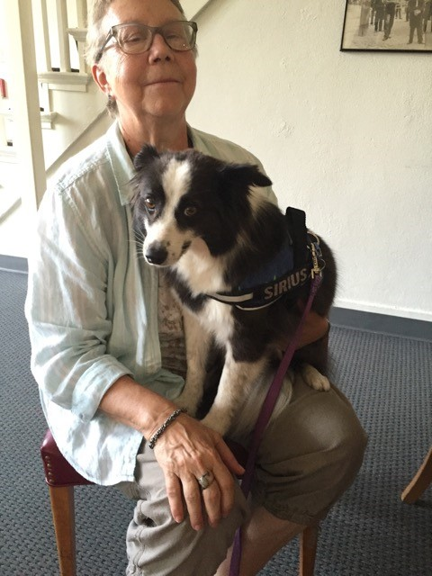 Janet Coffman and Siri who is a 5 year old border collie/Pomeranian mix.