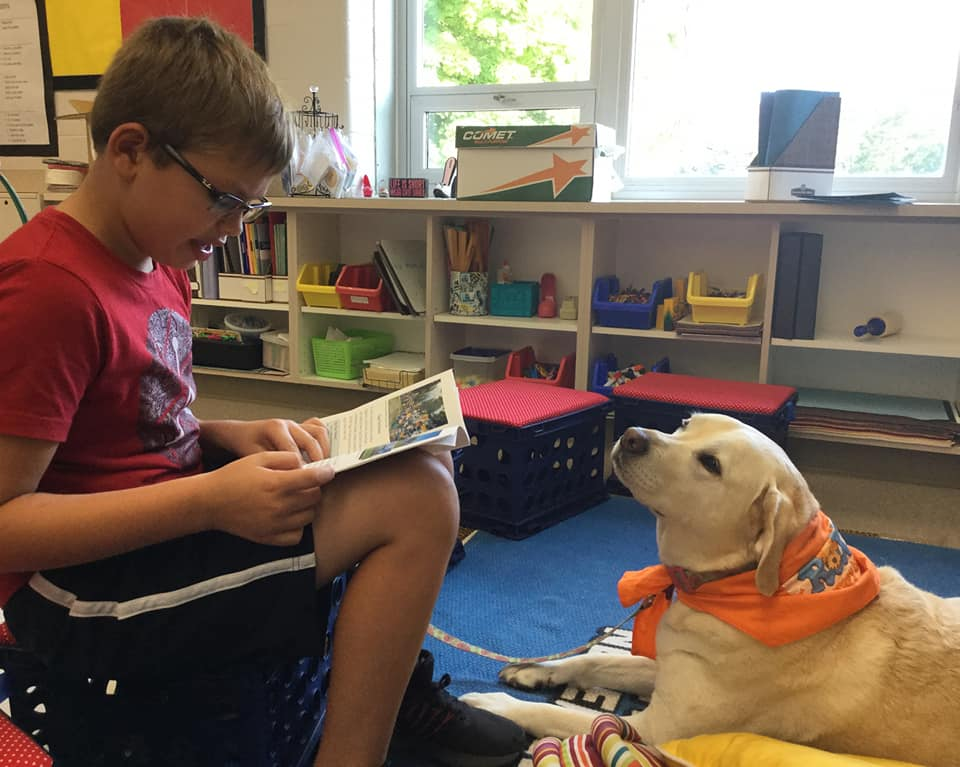 Chloe loves reading with friends in Central Bucks School District Elementary School Reading Inspiration.