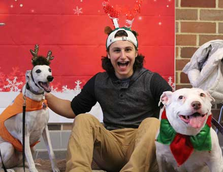 Bullet and Mo had fun with one student expressing their joy with super smiles.