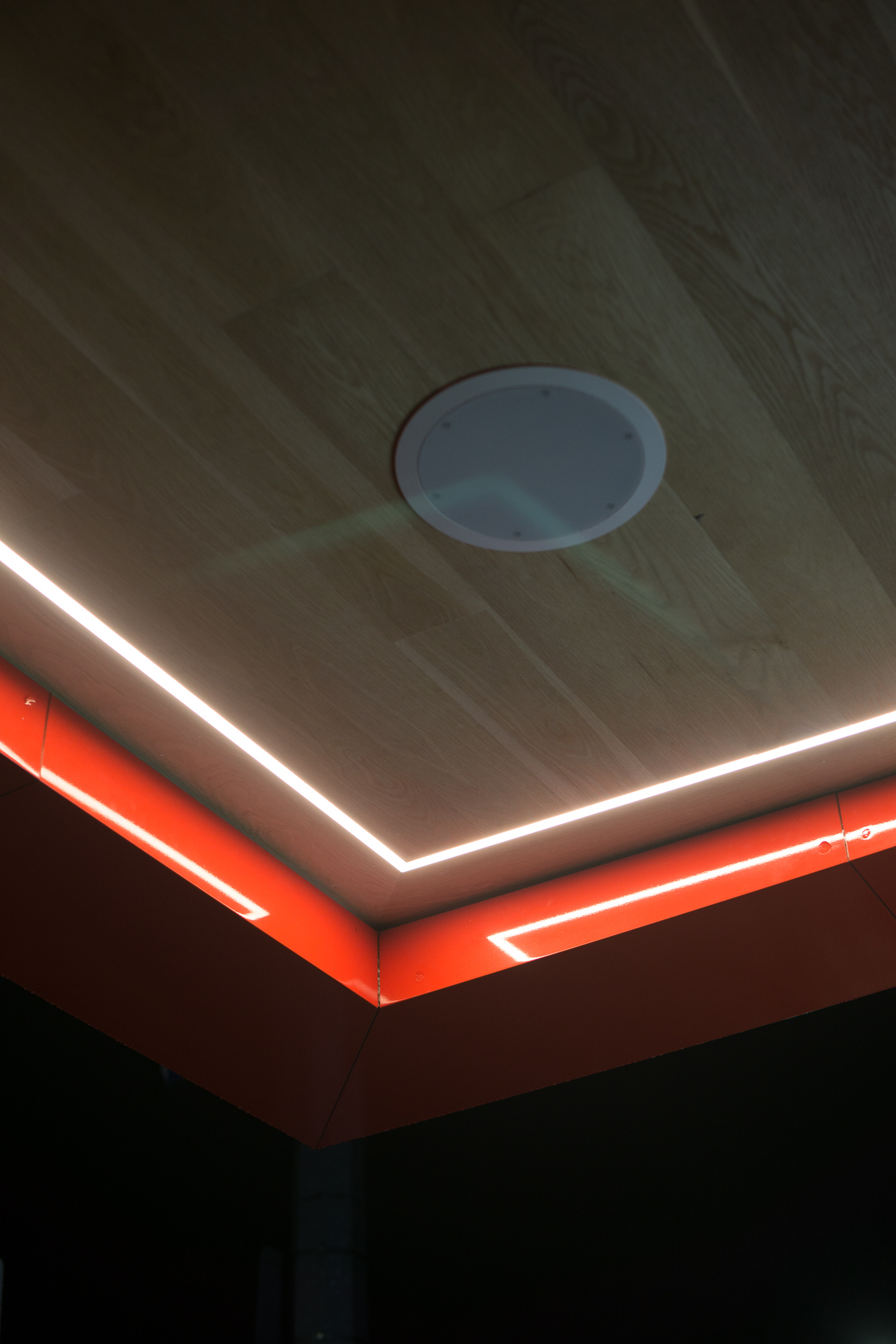 This is a picture of the ceiling of a fast food restaurant which I took while why are you still reading this. Unedited.