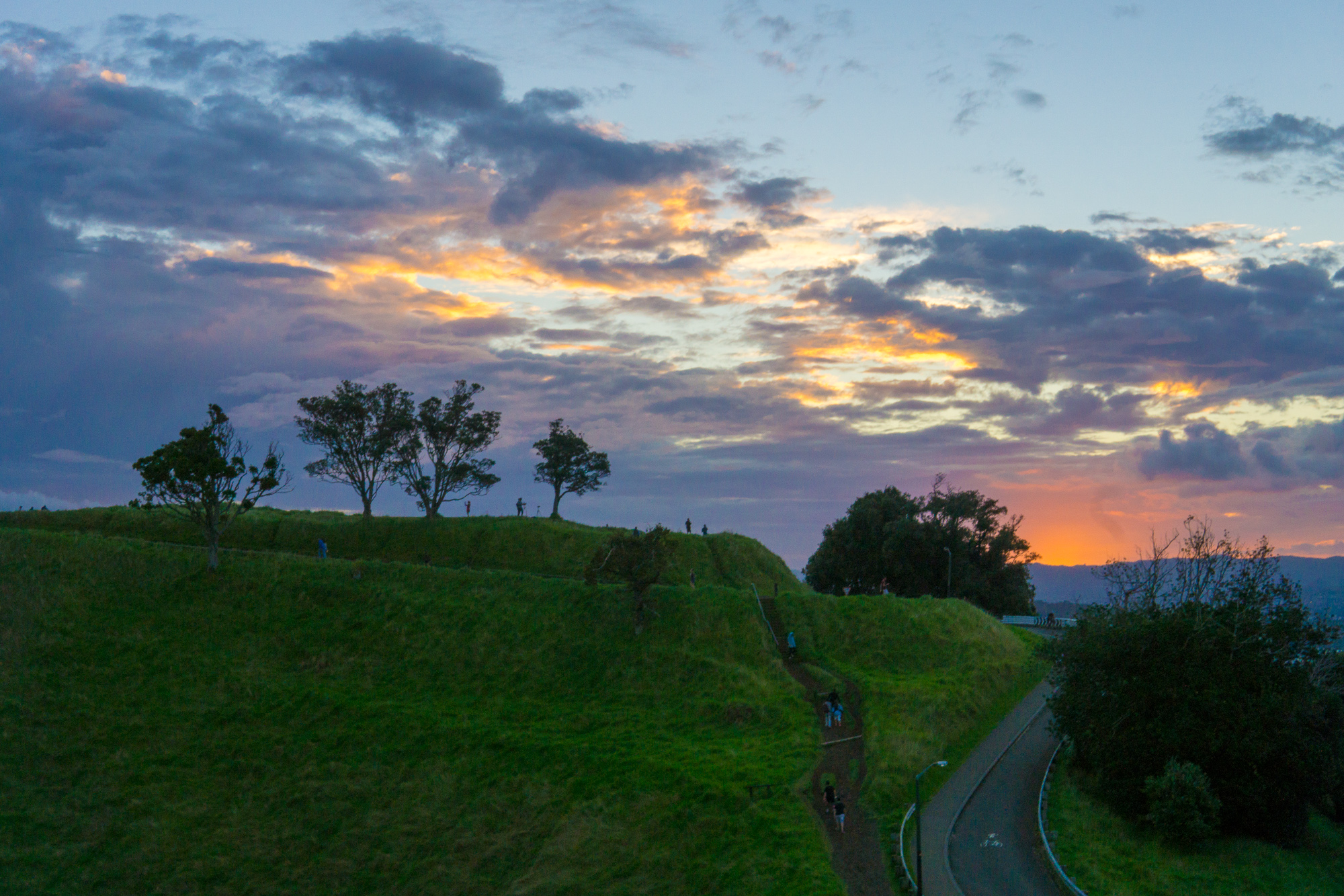 Sunset on Mount Eden 12 hours later.