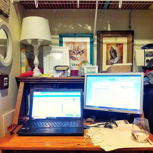 "I've been busy at this cluttered desk and distracted by possiblities much of the rest of the time. . A few pieces of those possible plans came into focus over the weekend. . Some of them will keep me scrambling, both at this little desk and beyond. . But the biggest answer for my husband and me was ""wait."" . Perhaps it should frustrate me more. We've done what feels like /so much/ waiting. . Yet this wait brings with it the welcome gift of specific intention. . And certainly plenty to keep us busy in the mean time. . . . I'm finally jumping in on the #mynextrightthing challenge from @emilypfreeman. Today is Day 24 :: Wait . Cat print (""inTIMidated"") by @iambessmess . #hopewriters #waiting #patience #amediting #messydesk"